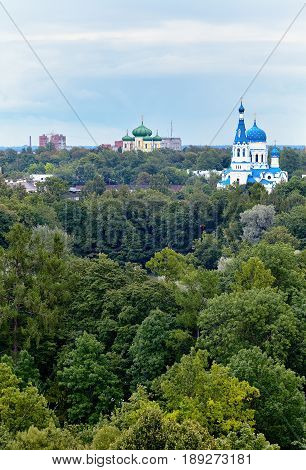 View from the roof of the Gatchina Palace on the city, the Cathedral of the Intercession of the Blessed Virgin, the Cathedral of St. Paul the Apostle and city buildings