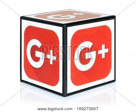 Kiev Ukraine - September 30 2015: Cube with Google Plus icons printed on paper. Google Plus is a well-known social networking and news service