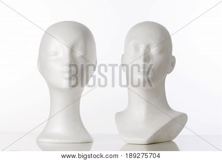 Two Mannequin Heads for Wigmaking on White
