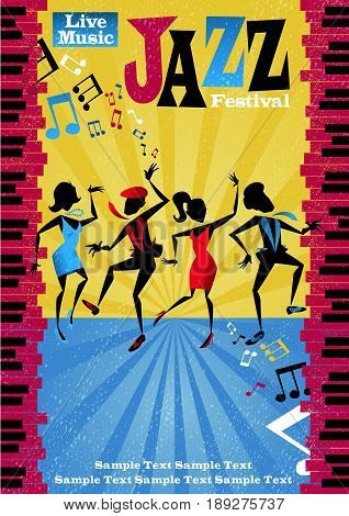 Retro styled Jazz festival Poster featuring an Abstract style illustration of a vibrant group of Jazz dancers.