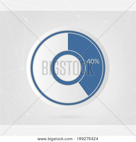 40 percent blue white pie chart. Percentage vector infographics. Circle diagram isolated symbol on abstract lines background. Business illustration icon for marketing presentation project web design