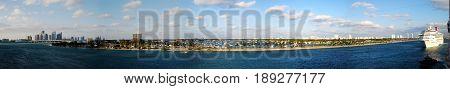 180 degree panoramic view of the ship gateway to Miami (Florida)