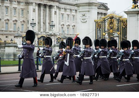 LONDON - NOV 17: Soldiers march as they participate in the Changing of the Guards at Buckingham Palace on November 17 2008 in London, England. This tradition has taken place since 1660.