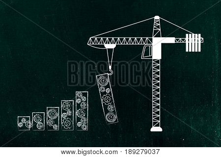 Tower Crane Building Bar Graph With Gearwheels
