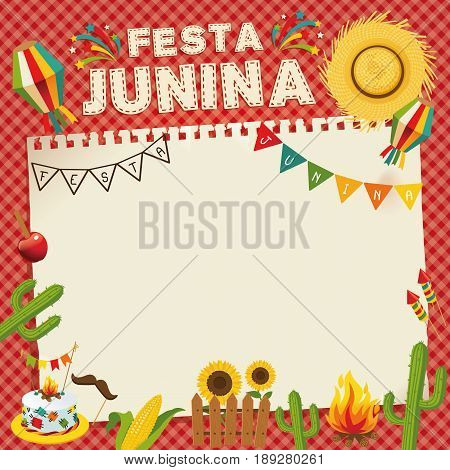 Festa Junina - Brazil June Festival. Retro Poster of Folklore Holiday. Cage Background. Vector Illustration.