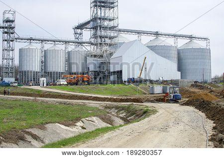 Elevator on modern  factory. Factory landscape. Industry