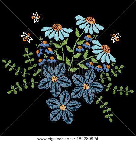 Embroidery stitches imitation blue flower with leaf and bee. Floral embroidery pattern. Vector embroidery template for printing on fabric napkin and other decoration.