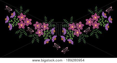 Embroidery stitches imitation fashion neck line pattern with folk flower and butterfly. Embroidery flower and butterfly vector.