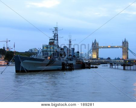Warship Near Tower Bridge In London