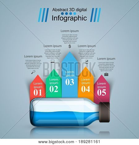 Medical infographics. Bottle with a prescription. Business Infographics origami style Vector illustration.