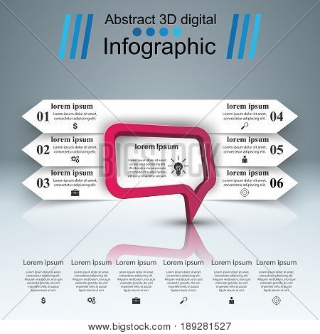 Speech bubl icon. Dialog box info. Abstract infographic. Business Infographics origami style Vector illustration. Marketing info
