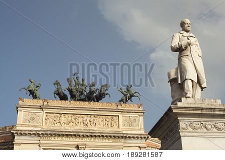 View of Ruggero Settimo - Roger the Seventh monument in the Politeama square Palermo