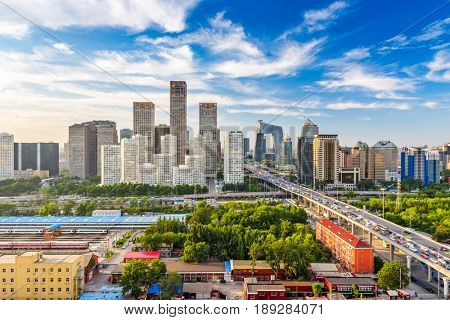 Beijing, China modern financial district skyline on a nice day with blue sky.