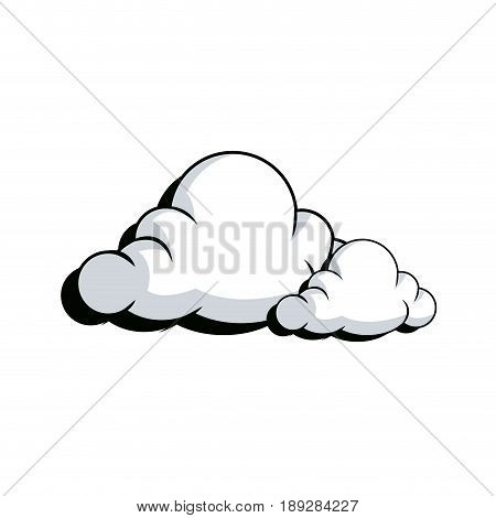 drawing fluffy cloud shaped bubble vector illustration