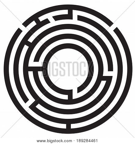 circle maze symbol on white background. round maze icon.