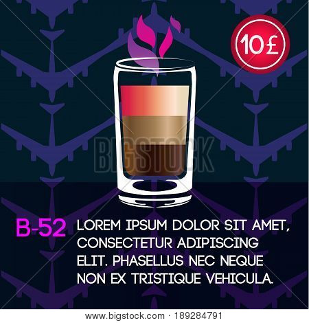 Alcoholic cocktail B-52 card template with price and patterned background. Vector illustration.