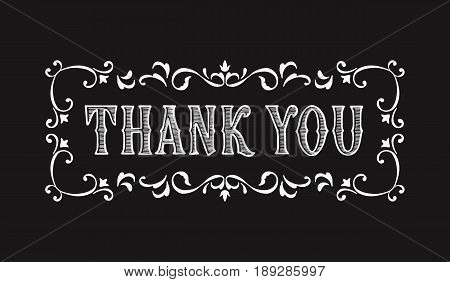 Thank you lettering for greeting card in Victorian style. Design of greeting cards in vintage style