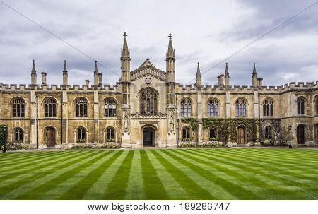 Courtyard Of The Corpus Christi College, Is One Of The Ancient Colleges In The University Of Cambrid