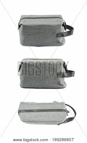 Gray hygienic handbag with the zip fastener isolated over the white background, set of three different foreshortenings