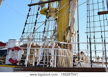 Cataract and rope ladders on the deck of the old sail boat