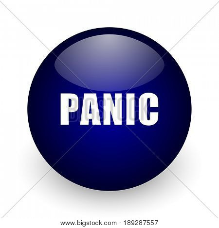 Panic blue glossy ball web icon on white background. Round 3d render button.