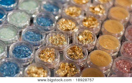 Set of powder cosmetic (shallow dof)