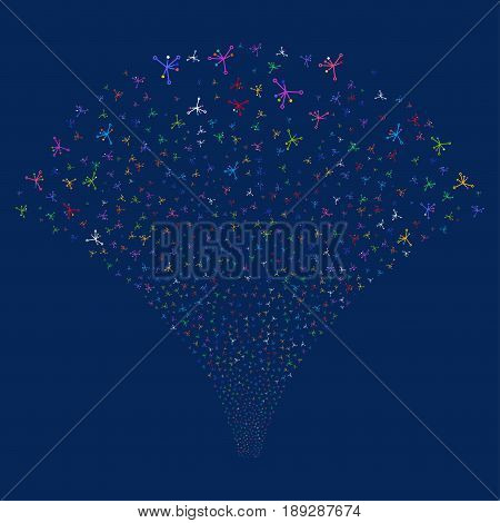 Big Bang salute stream. Vector illustration style is flat bright multicolored iconic symbols on a blue background. Object fireworks fountain constructed from random icons.