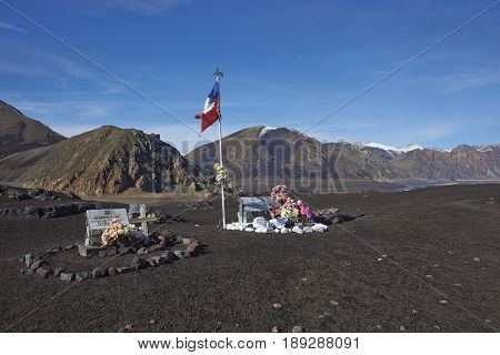 Laguna de Laja National Park, Chile - May 24, 2017: Memorials on the lava field of Volcano Antuco marking where the bodies of individual soldiers who died in the Antuco Tragedy of 2006, were found.