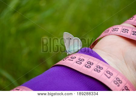 Fat woman wants to lose weight diet side view in purple suit on green grass holds in hands measuring tape pink numbers on her sits blue butterfly hand with short blue nails on blurry background lightness flit