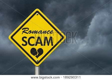 Romance Scam yellow warning road sign Yellow caution sign with words Romance Scam with stormy sky background 3D Illustration
