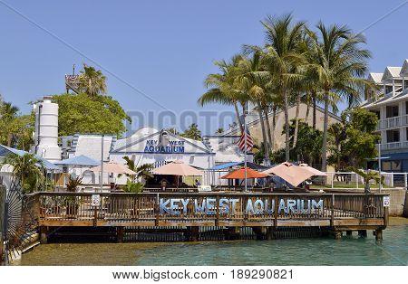 Key West Florida Keys Florida USA - May 15 2017 : Key West Aquarium Florida one of Florida's oldest aquariums