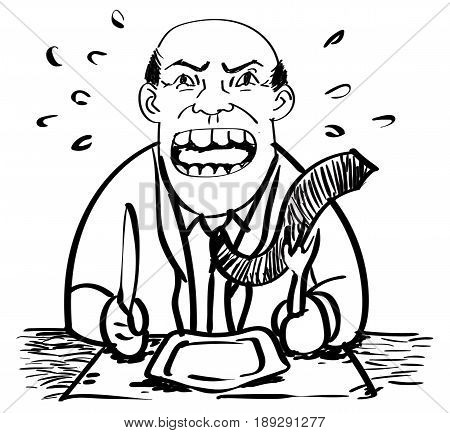Cartoon of Hungry Businessman was angry and waiting food-Drawing Vector