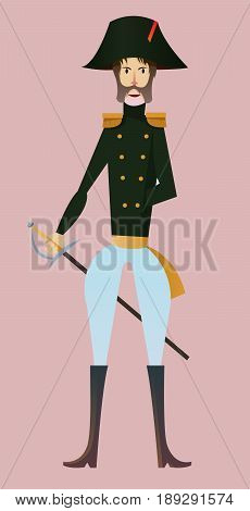 Digital vector french napoleonic soldier character for infographics with sword moustache and hat flat style pink background