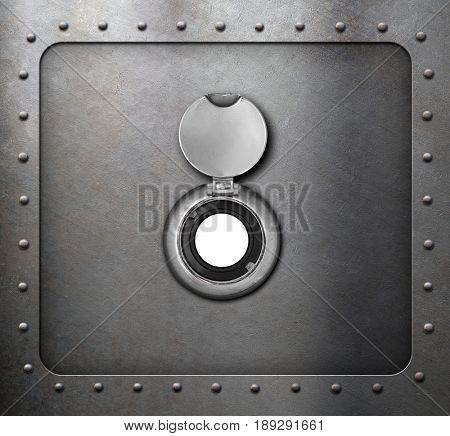 peephole on metal armored door 3d illustration