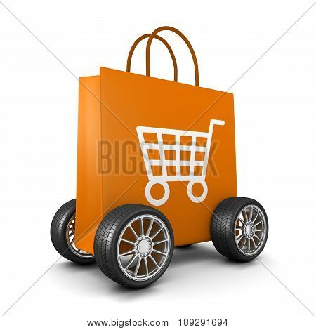 Shopping Bag With Cart Symbol And Wheels