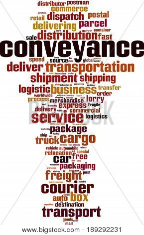 Conveyance word cloud concept. Vector illustration on white