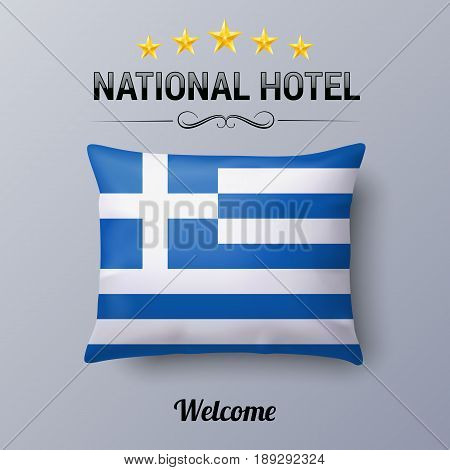 Realistic Pillow and Flag of Greece as Symbol National Hotel. Flag Pillow Cover with Greek flag