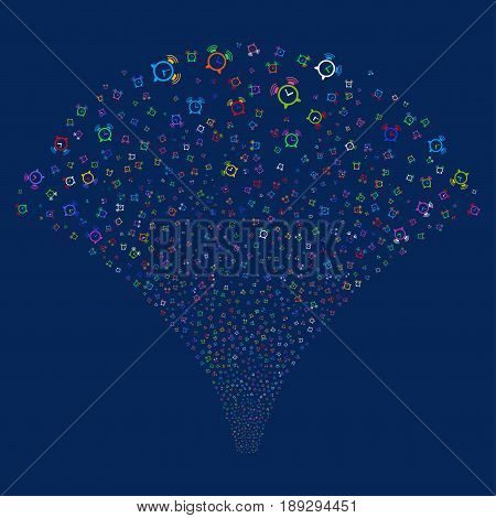 Buzzer salute stream. Vector illustration style is flat bright multicolored iconic symbols on a blue background. Object explosion fountain constructed from random pictograms.