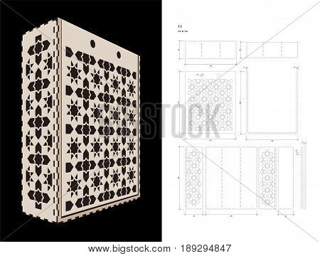 Cut out template for three bottles Wine gift slider Box or Wine Glasses Box (plywood 3 mm). Creative memory bottle pack with geometric design. Scheme is suitable for a laser cutting or printing