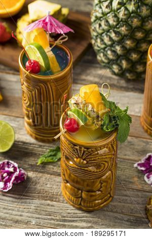 Refreshing Cold Tiki Drink Cocktails