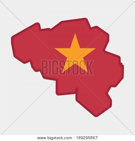 Isolated Belgium Map With  The Red Star Of Communism Icon