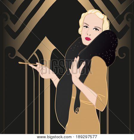 Flapper girl. Great Gatsby. 1920s style Silverscreen