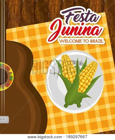 Corn on plate and guitar over wooden table and orange square tablecloth vector illustration