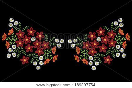 Embroidery stitches imitation neck line pattern with folk flower. Floral embroidery on black background. Embroidery flower vector.