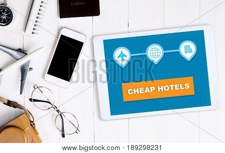 Cheap hotel search online travel agency application on tablet