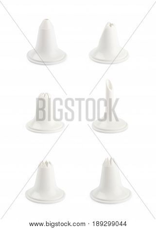 Decorational cream piping bag's plastic tip isolated over the white background, set of six different images