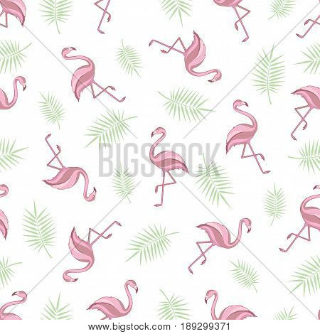 Seamless background with flamingos. A simple pattern. Flamingo and palm branch on a white background. Vector.