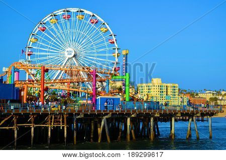 June 1, 2017 in Santa Monica, CA:  Amusement Park Rides on the historic Santa Monica Pier built in 1909 where the public can enjoy restaurants, retail stores, and Amusement Park Rides taken in Santa Monica, CA