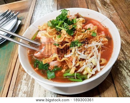 Yentafo Thai Style Noodle in Pink or Red Color Soup has a Spicy and Sweet Flavor