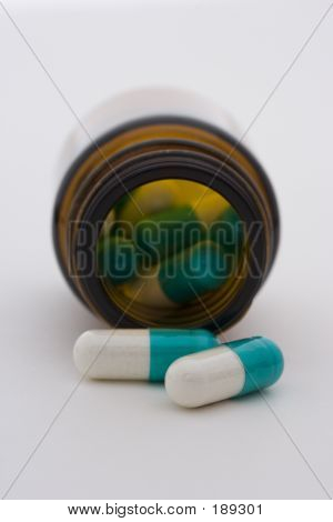 Medication Spilt Out Of A Pill Bottle